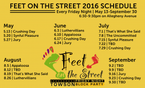 Feet on the Street 2016 Schedule
