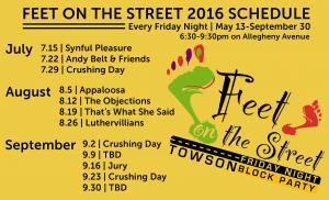 Feet on the Street 2016 Schedule